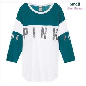 VS PINK Bling Sequin Varsity Tee in White/Teal